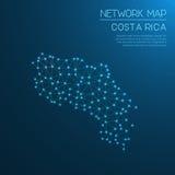 Costa Rica network map. Stock Photo
