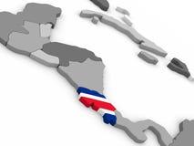 Costa Rica no globo com bandeira Fotos de Stock Royalty Free