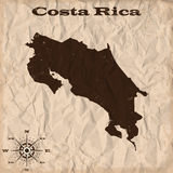 Costa Rica old map with grunge and crumpled paper. Vector illustration Royalty Free Stock Images