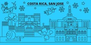 Costa Rica, orizzonte di vacanze invernali di San José Il Buon Natale, buon anno ha decorato l'insegna con Santa Claus costa illustrazione vettoriale