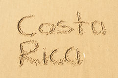 Costa Rica. A picture of the words Costa Rica drawn in the sand stock images