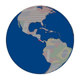 Costa Rica on political globe Royalty Free Stock Photography