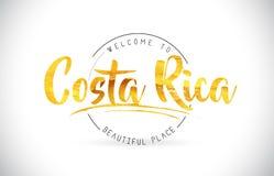 Costa Rica powitanie Formułować tekst z Ręcznie pisany chrzcielnicą i Złoty royalty ilustracja