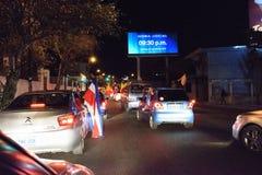 Costa Rica Presditential Election Celebration bij Nacht Stock Afbeelding