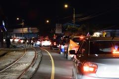Costa Rica Presditential Election Celebration bij Nacht Stock Foto