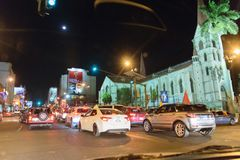 Costa Rica Presditential Election Celebration bij Nacht Stock Foto's