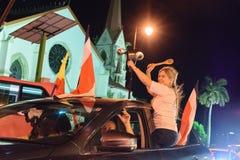 Costa Rica Presditential Election Celebration na noite fotos de stock royalty free