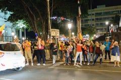 Costa Rica Presditential Election Celebration na noite Fotografia de Stock Royalty Free