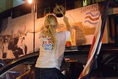 Costa Rica Presditential wybory świętowanie przy nocą obraz stock