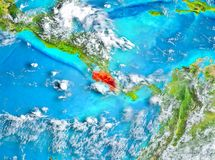 Costa Rica in red on Earth. Costa Rica highlighted in red on planet Earth. 3D illustration. Elements of this image furnished by NASA Stock Images