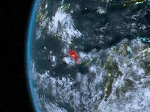 Costa Rica in red at night. Night map of Costa Rica as seen from space on planet Earth. 3D illustration. Elements of this image furnished by NASA Stock Photo