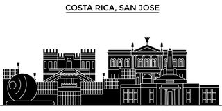 Costa Rica, San Jose architecture vector city skyline, travel cityscape with landmarks, buildings, isolated sights on Royalty Free Stock Photos