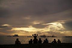 Costa Rica silhouettes заход солнца Стоковая Фотография