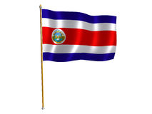 Costa Rica silk flag Stock Photography