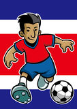 Costa rica soccer player with flag background Stock Photos