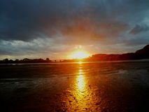 Costa Rica solnedgång i mata de limón Puntarenas royaltyfri fotografi