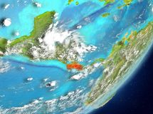 Costa Rica from space. Satellite view of Costa Rica highlighted in red on planet Earth with clouds. 3D illustration. Elements of this image furnished by NASA Royalty Free Stock Image
