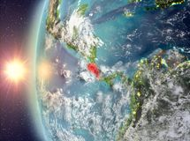 Costa Rica during sunset from space. Costa Rica as seen from space on planet Earth during sunset. 3D illustration. Elements of this image furnished by NASA Stock Image