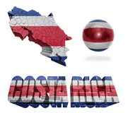 Costa Rica Symbols. Costa Rica flag and map in different styles in different textures Royalty Free Stock Photo