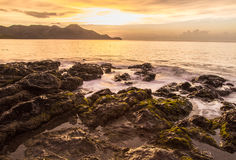 Costa Rica Tide Pool. Waves crashing on the rocks in Guanacaste, Costa Rica Stock Photo
