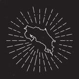 Costa Rica Vector Map Outline con el vintage libre illustration
