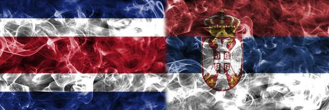 Costa Rica vs Serbia smoke flag, group E, Fifa football world cu. P 2018, Moscow, Russia Royalty Free Stock Photos