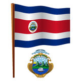 Costa rica wavy flag. And coat of arms against white background, vector art illustration, image contains transparency Royalty Free Stock Photos