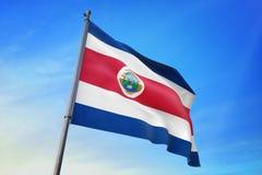 Costa Rica zaznacza falowanie na niebieskiego nieba 3D ilustracji royalty ilustracja