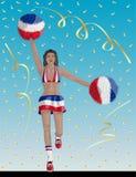 Costa Rican Cheerleader di Costa Rica Fans illustrazione di stock