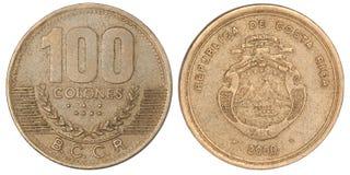 Costa Rican Colones mynt royaltyfri fotografi