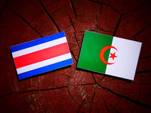 Costa Rican flag with Algerian flag on a tree stump isolated royalty free illustration