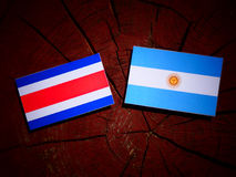 Costa Rican flag with Argentinian flag on a tree stump. Costa Rican flag with Argentinian flag on a tree stump Stock Photo