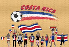 Costa Rican football fans cheering with Costa Rica flag colors i royalty free illustration