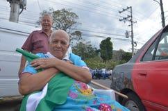 Costa Rican Presidential-Wahlen 2014: Flagge Stockfoto