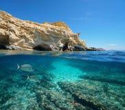 Costa rochosa da Espanha com peixes a Andaluzia subaquática fotos de stock royalty free