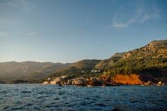 Costa rochosa do mar de adriático em Montenegro Fotografia de Stock
