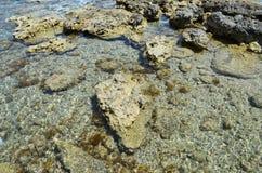 Costa rochoso da ilha grega do Rodes Imagens de Stock