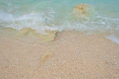 Costa rocosa de la isla de Cerdeña en el mar Mediterráneo en sunligh foto de archivo