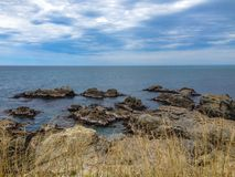 Costa costa rocosa en el distrito de Kaikoura, isla del sur, Nueva Zelanda foto de archivo