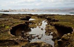 Costa singular na maré baixa, Gran canaria Fotos de Stock Royalty Free