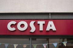Costa sklepu przodu sklepu Kawowy znak Zdjęcie Royalty Free