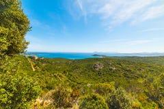 Costa Smeralda linia brzegowa w Sardinia Zdjęcie Stock