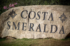 Costa Smeralda sign in Sardinia Royalty Free Stock Photo