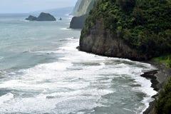 Costa áspera na praia de Poulu, ilha grande, Havaí Fotos de Stock Royalty Free