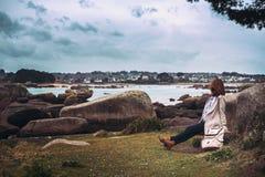 Costa típica de Brittany no norte de França Foto de Stock Royalty Free