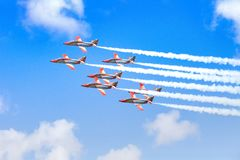 COSTA TEGUISE, LANZAROTE, SPAIN - OCTOBE 28: Airshow in the blue sky in Costa Teguise, Lanzarote on 28 of October 2018 royalty free stock image