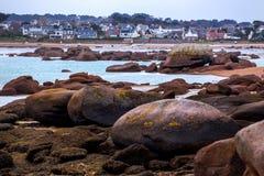 Costa tipica di Bretagna nel Nord della Francia Fotografia Stock