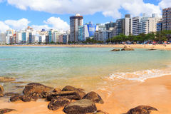 Costa van strandpraia DA, zand, overzees, Vila Velha, Espirito Sando, Bustehouder Royalty-vrije Stock Foto