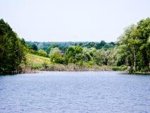 Costa verde do grande lago Foto de Stock