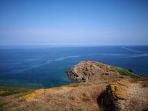 Rocky coast near the sea of Sardinia, Torre dei Corsari royalty free stock photos